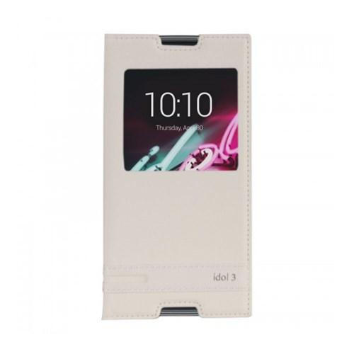 Lopard Alcatel Idol 3 Kılıf Kapaklı Pencereli Ellite Case Deri Beyaz