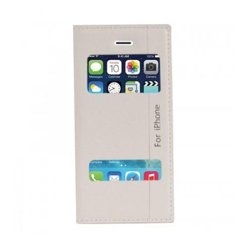 Lopard Apple İphone 5-5S Kılıf Kapaklı Pencereli Magnum Case Deri Beyaz