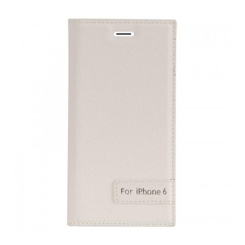 Lopard Apple İphone 6 6S Kapaklı Sapphire Case Deri Beyaz