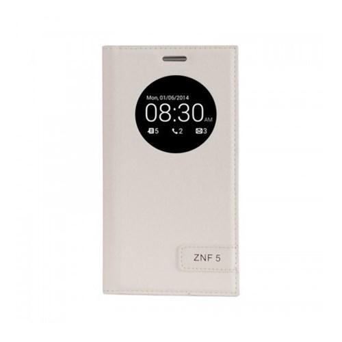 Lopard Asus Zenfone 5 Lite Kılıf Kapaklı Pencereli Ellite Case Deri Beyaz