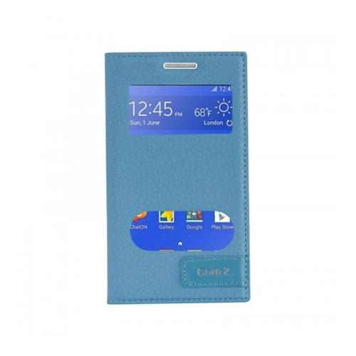Lopard Samsung Galaxy Core 2 Kılıf Kapaklı Pencereli Ellite Case Deri Mavi