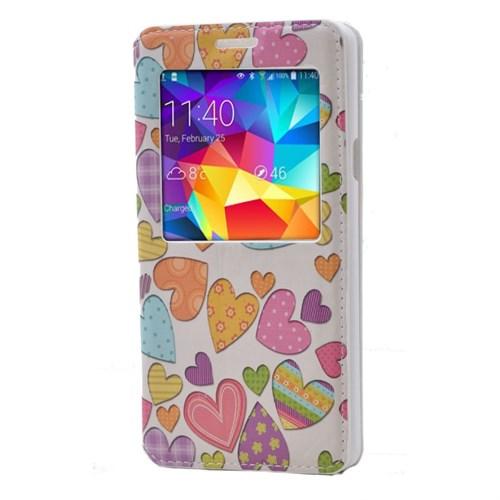Teleplus Samsung Galaxy A7 Desenli Pencereli Kılıf Kalp