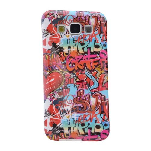 Teleplus Samsung Galaxy A3 Desenli Silikon Kılıf Kırmızı Yazı