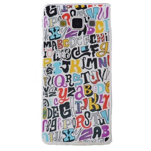 Teleplus Samsung Galaxy E5 Desenli Silikon Kılıf Yazı