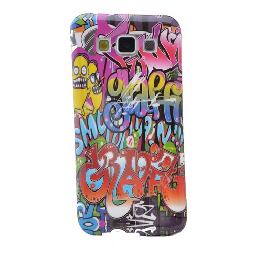 Teleplus Samsung Galaxy E5 Desenli Silikon Kılıf Karışık Yazı