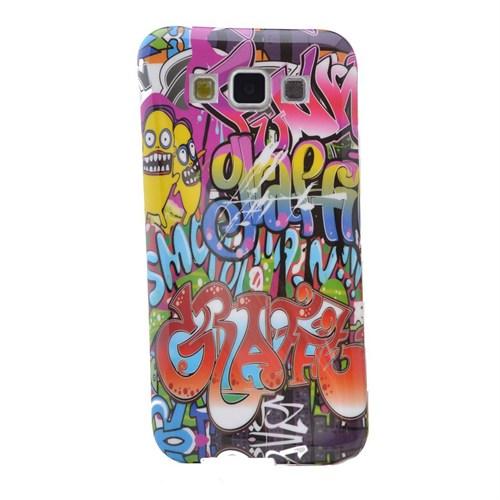 Teleplus Samsung Galaxy E7 Desenli Silikon Kılıf Karışık Yazı