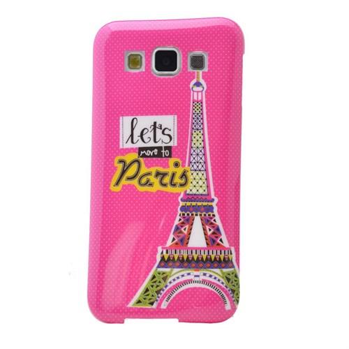 Teleplus Samsung Galaxy E7 Desenli Silikon Kılıf Pembe Paris
