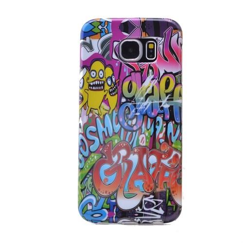 Teleplus Samsung Galaxy S6 Desenli Silikon Kılıf Karışık Yazı
