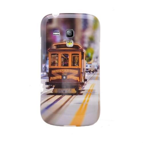 Teleplus Samsung Galaxy S3 Mini Desenli Silikon Kılıf Tramvay