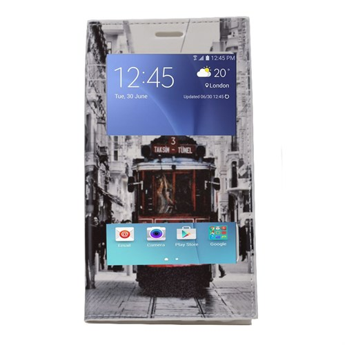 Teleplus Samsung Galaxy J5 Çift Pencereli Desenli Kılıf Taksim
