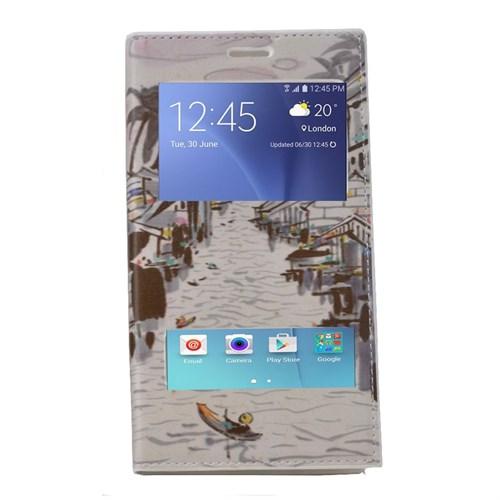 Teleplus Samsung Galaxy J7 Çift Pencereli Desenli Kılıf Çizgi