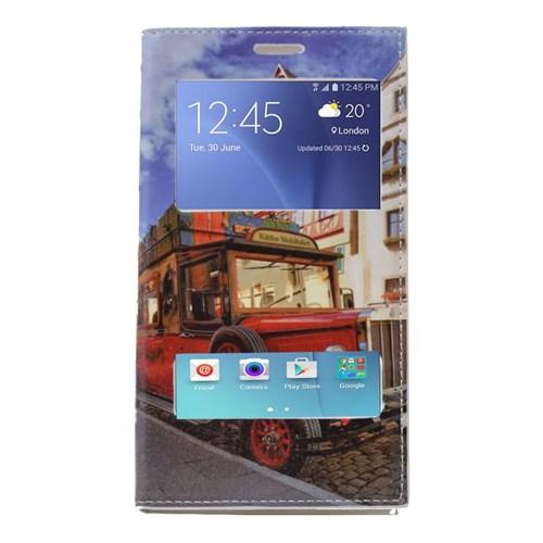 Teleplus Samsung Galaxy J7 Çift Pencereli Desenli Kılıf Kırmızı Otobüs