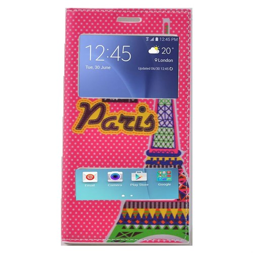 Teleplus Samsung Galaxy J5 Çift Pencereli Desenli Kılıf Pembe Paris