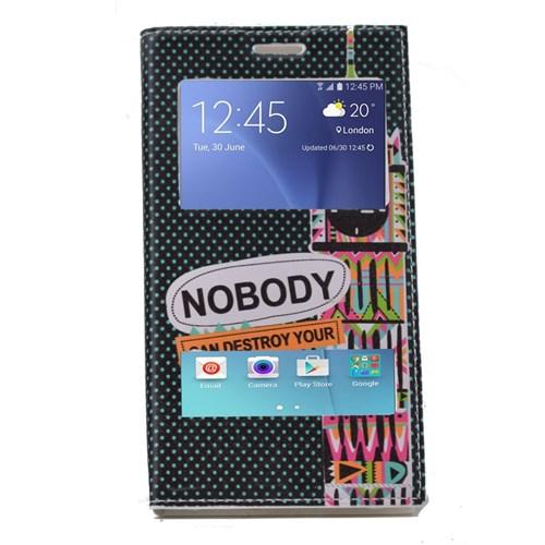 Teleplus Samsung Galaxy A8 Çift Pencereli Desenli Kılıf Dreams