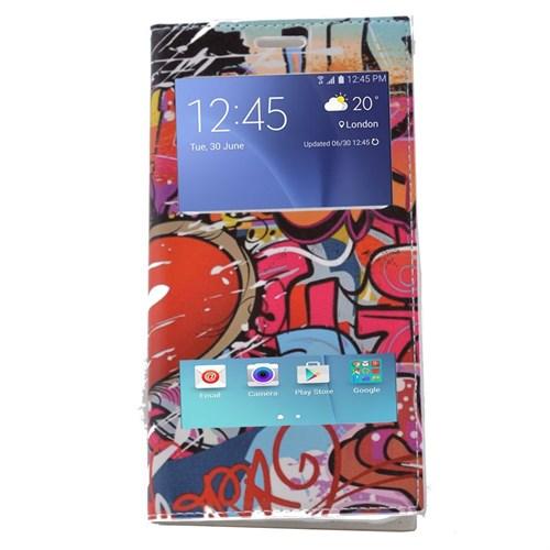 Teleplus Samsung Galaxy A8 Çift Pencereli Desenli Kılıf Karışık