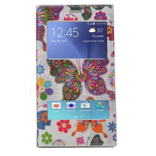 Teleplus Samsung Galaxy A8 Çift Pencereli Desenli Kılıf Kelebek