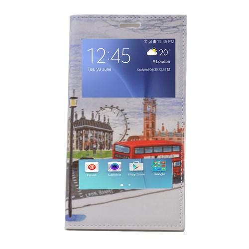 Teleplus Samsung Galaxy A8 Çift Pencereli Desenli Kılıf Otobüs