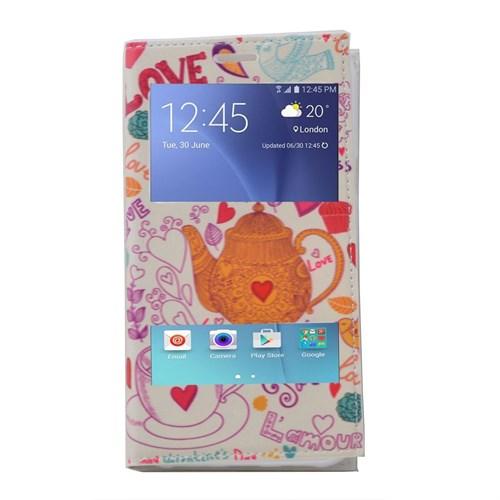 Teleplus Samsung Galaxy A8 Çift Pencereli Desenli Kılıf Love