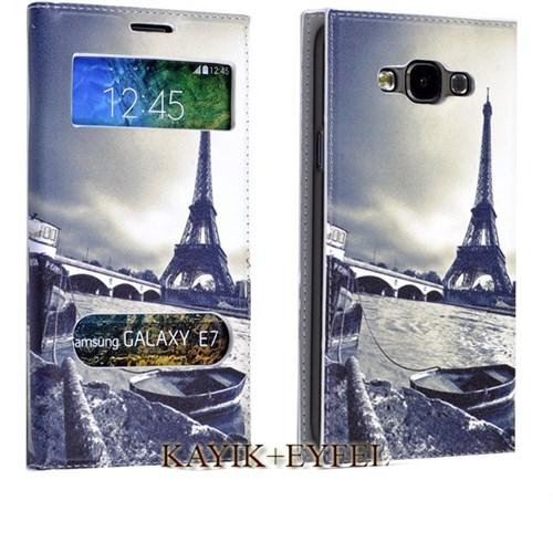 Teleplus Samsung Galaxy E7 Desenli Pencereli Kılıf Eyfel
