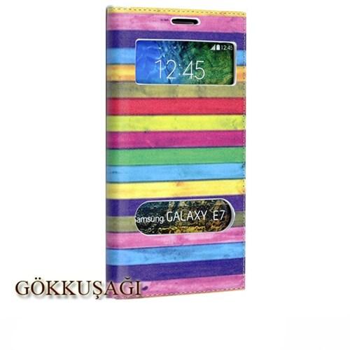Teleplus Samsung Galaxy E7 Desenli Pencereli Kılıf Gökkuşağı