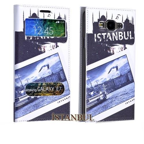 Teleplus Samsung Galaxy E7 Desenli Pencereli Kılıf İstanbul