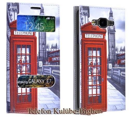 Teleplus Samsung Galaxy E7 Desenli Pencereli Kılıf Telefon