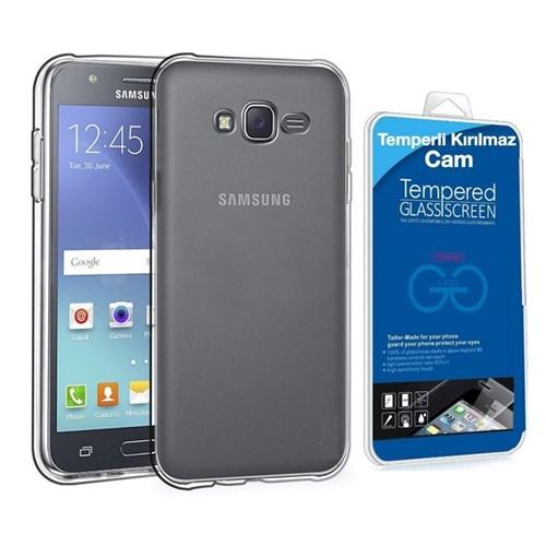 Teleplus Samsung Galaxy J7 Silikon Kılıf Şeffaf + Temperli Kırılmaz Cam