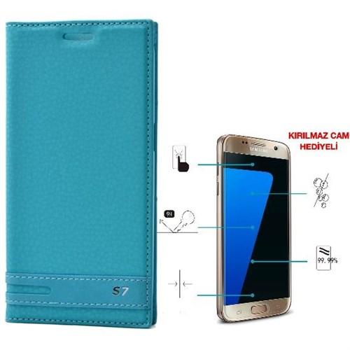 Teleplus Samsung Galaxy S7 Mıknatıslı Kılıf Turkuaz + Kırılmaz Cam