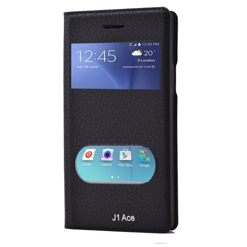 Teleplus Samsung Galaxy J1 Ace Çift Pencereli Mıknatıslı Kılıf Siyah