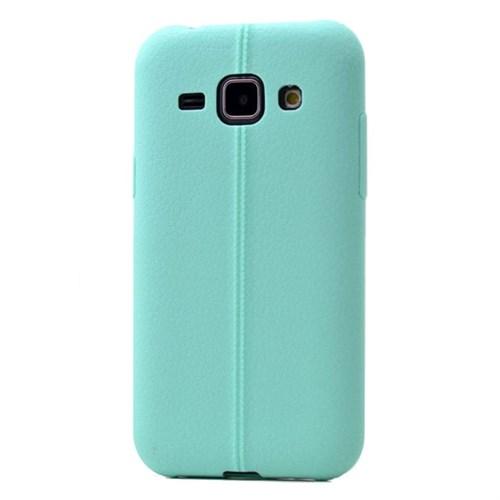 Teleplus Samsung Galaxy J1 Deri Görünümlü Silikon Kılıf Turkuaz