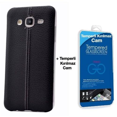 Teleplus Samsung Galaxy J3 Dikişli Silikon Kılıf Siyah + Kırılmaz Cam