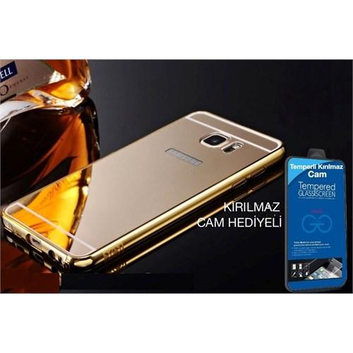 Teleplus Galaxy Note 5 Aynalı Kapak Gold + Kırılmaz Cam Hediyeli