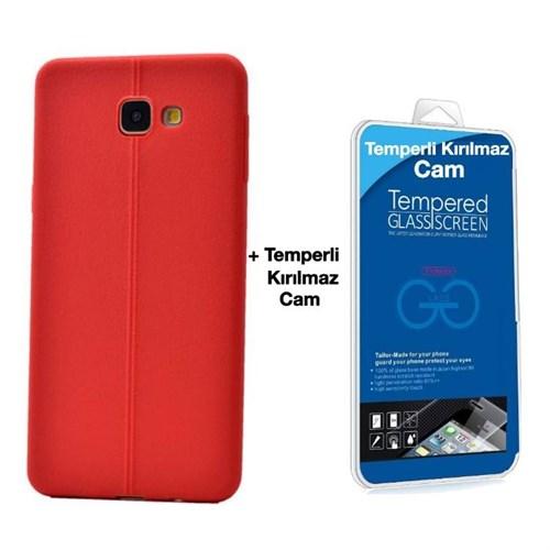 Teleplus Galaxy A3 2016 Deri Görünümlü Silikon Kılıf Kırmızı + Temperli Kırılmaz Cam