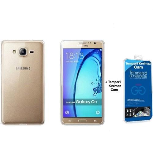 Teleplus Samsung Galaxy On5 Tam Korumalı Silikon Kılıf Şeffaf + Kırılmaz Cam