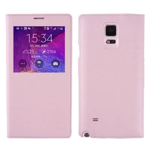 Teleplus Samsung Galaxy Note 4 Pencereli Kılıf Pembe