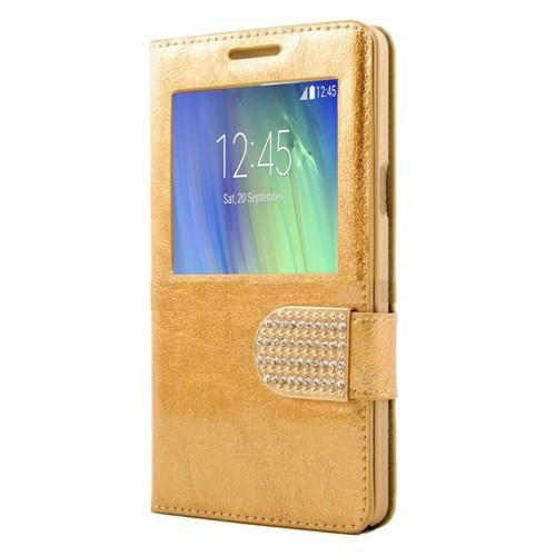 Teleplus Samsung Galaxy A5 Taşlı Pencereli Kılıf Sarı