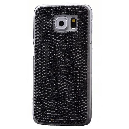 Teleplus Samsung Galaxy S6 Taşlı Rubber Kapak Siyah