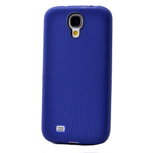 Teleplus Samsung Galaxy S4 Çizgili Silikon Kılıf Mavi