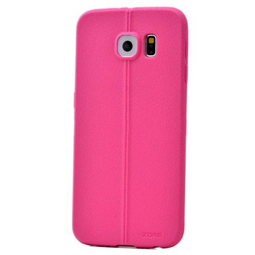 Teleplus Samsung Galaxy S6 Deri Görünümlü Silikon Kılıf Pembe