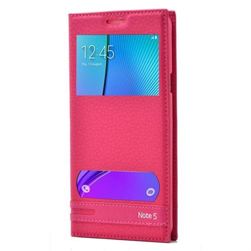 Teleplus Samsung Galaxy Note 5 Özel Çift Pencereli Kılıf Pembe
