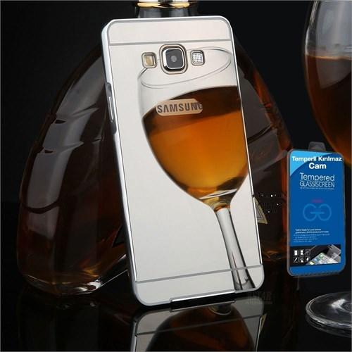 Teleplus Galaxy A7 2016 Kapak Aynalı Gümüş + Kırılmaz Cam