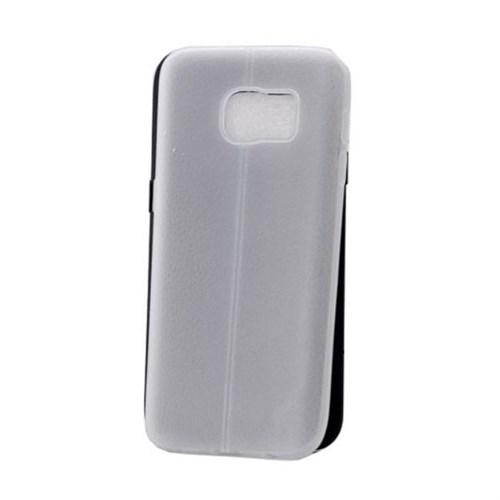 Teleplus Samsung Galaxy S7 Edge Deri Görünümlü Silikon Kılıf Şeffaf