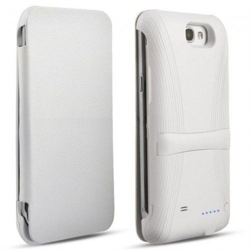 Teleplus Samsung Galaxy Note 2 Kapaklı Şarjlı Kılıf Beyaz