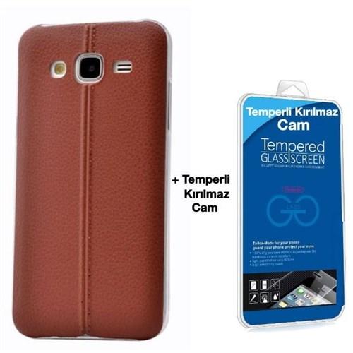 Teleplus Samsung Galaxy J2 Dikişli Silikon Kılıf Kahve + Kırılmaz Cam