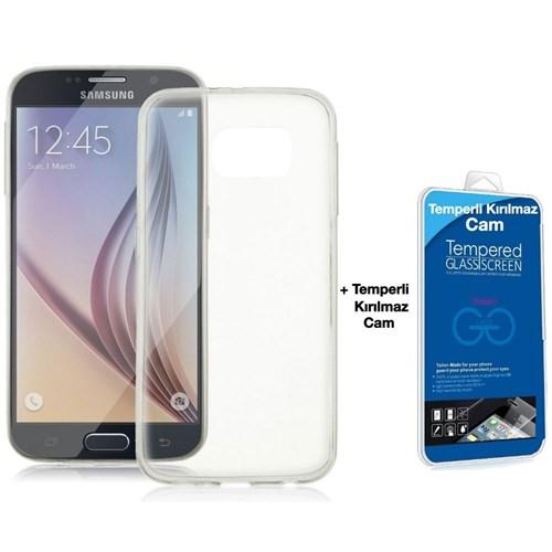 Teleplus Samsung Galaxy S6 Silikon Kılıf Şeffaf + Kırılmaz Cam