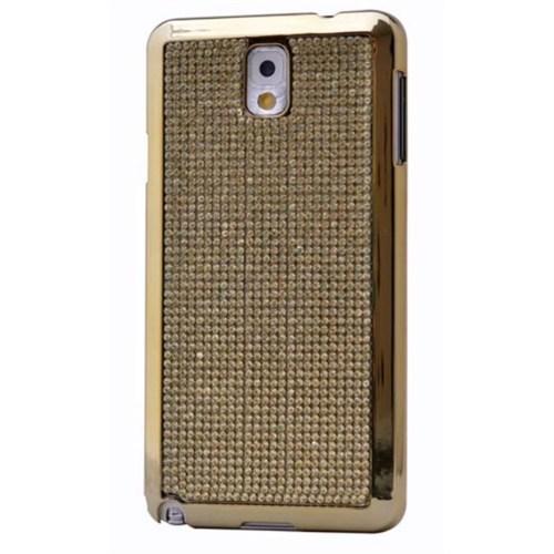 Teleplus Samsung Galaxy Note 3 Taşlı Kapak Kılıf Sarı