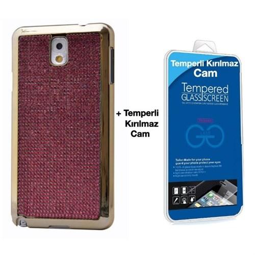 Teleplus Samsung Galaxy Note 3 Taşlı Kapak Kılıf Kırmızı + Kırılmaz Cam