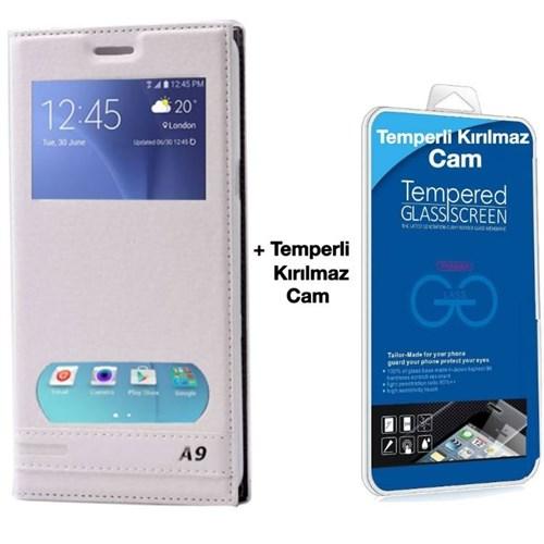 Teleplus Samsung Galaxy A9 Çift Pencereli Kılıf Beyaz + Temperli Kırılmaz Cam