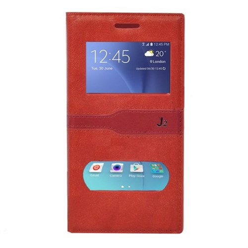 Teleplus Samsung Galaxy J2 Özel Çift Pencereli Kılıf Kırmızı