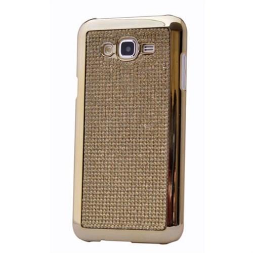 Teleplus Samsung Galaxy J7 Taşlı Kapak Kılıf Sarı